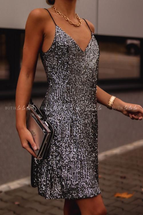 Sukienka Srebrna cekinowa na ramiączka Lilly