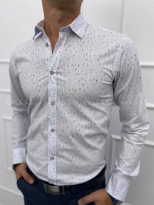 koszula męska slim z ozdobnymi guzikami