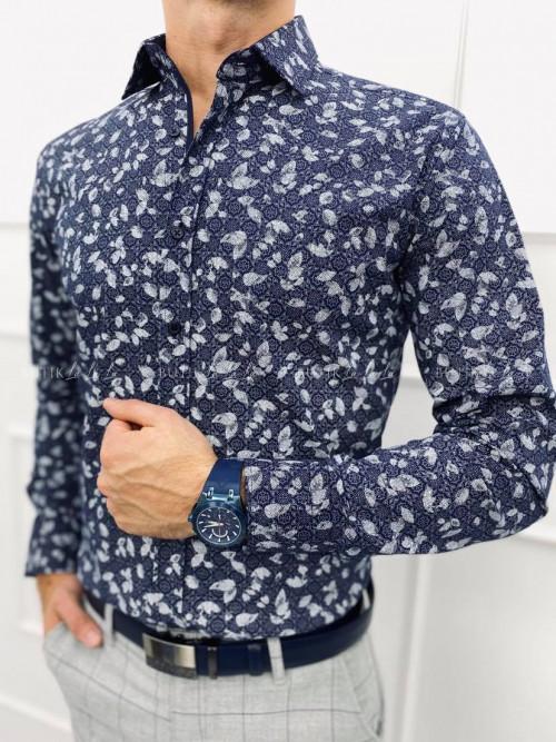 koszula męska slim imaginazii z kołnierzykiem niebieska w1