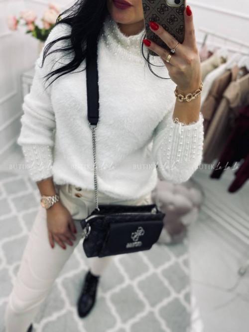 sweter z perełkami biały Pasion