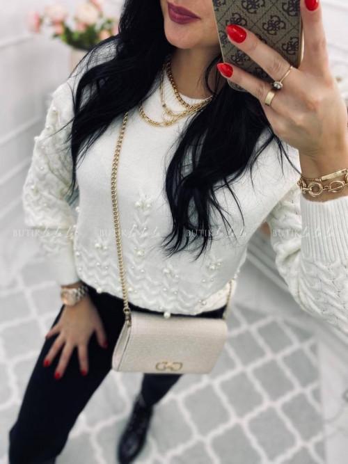 sweterek z perełkami biały Nisol