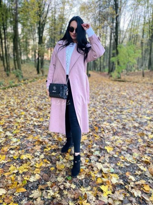 płaszcz wełniany z paskiem różowy Lilo