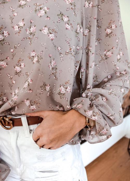 bluzka w kwiatowy print szara Kastor