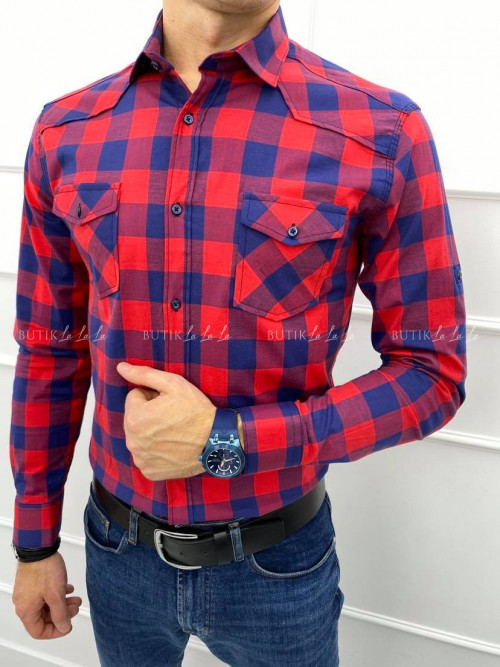 koszula męska slim w kratke