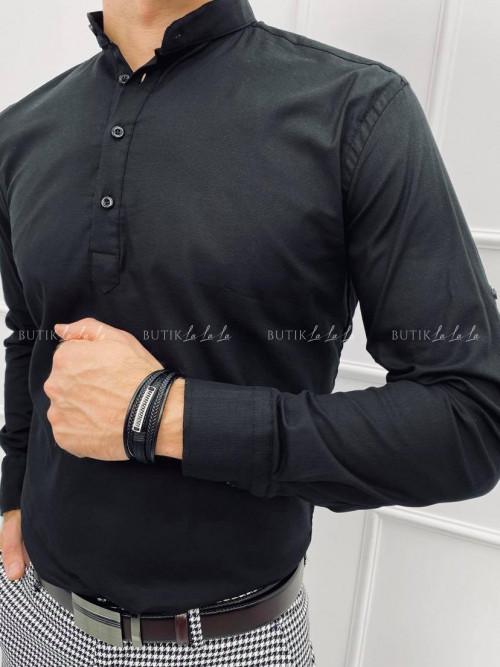 koszula męska czarna ze stójką zapinana na cztery guziki