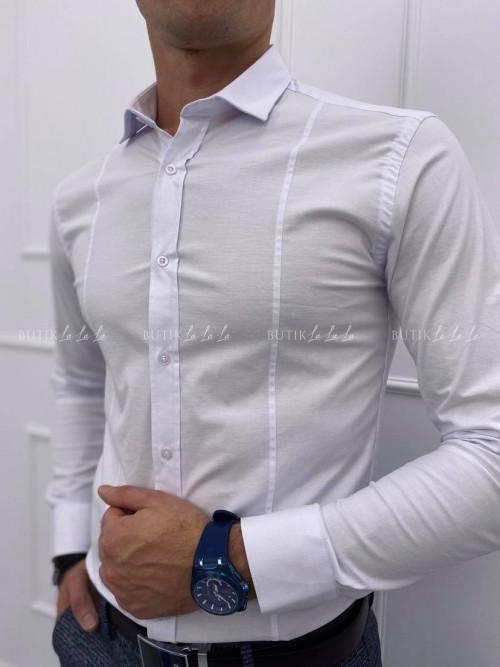 koszula męska biała z ozdobnymi przeszyciami i kołnierzykiem