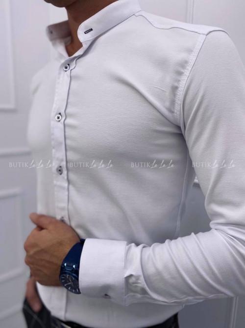 Koszula męska stójka biała gładka