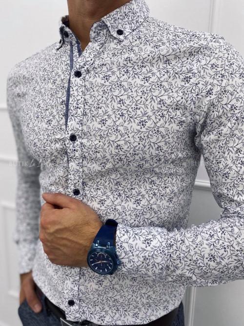 koszula męska biała w granatową mozaikę