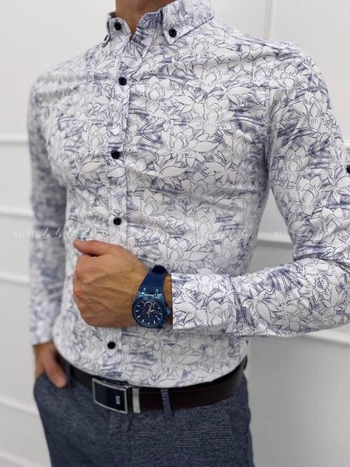 koszula męska biała w niebieskie kwiaty