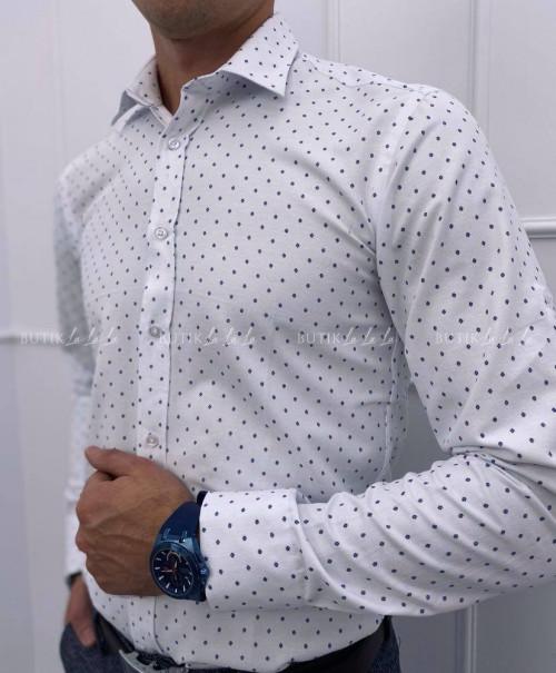 koszula męska biała w granatowy wzorek