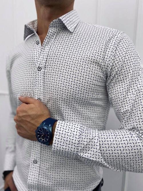 koszula męska biała z ozdobnymi guziczkami