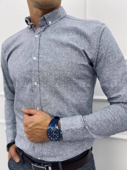 koszula męska z kołnierzykiem szara w delikatny wzór