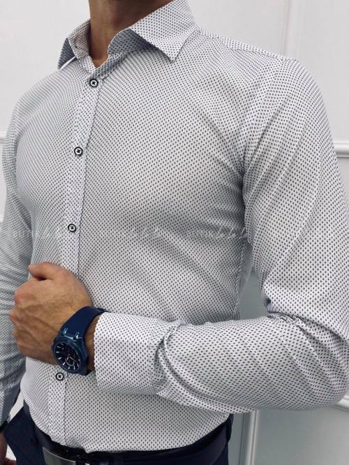 koszula męska slim we wzorek biała