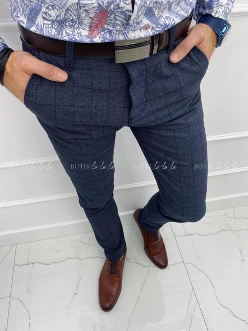Spodnie męskie granatowe w kratkę S1