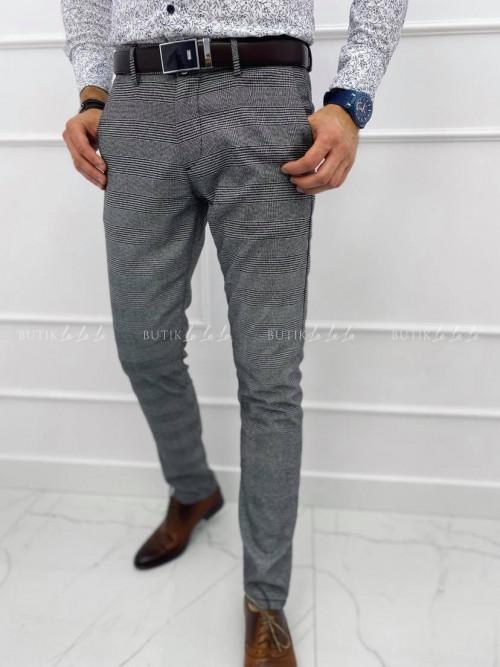 Spodnie męskie szare w kratkę S4