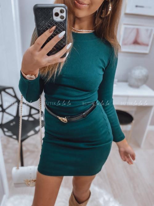 sukienka basic prążkowana ciemna zieleń Stron