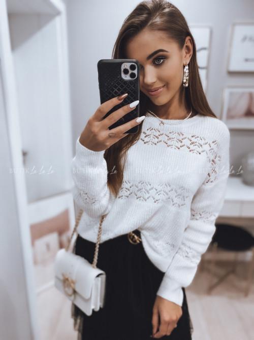 sweterek ażurowy biały Vouga