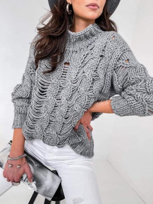 sweter wełniany szary Merino