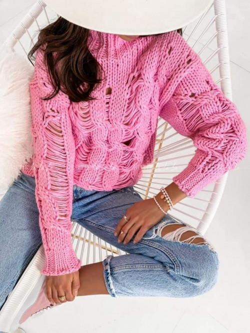 sweter wełniany różowy Merino