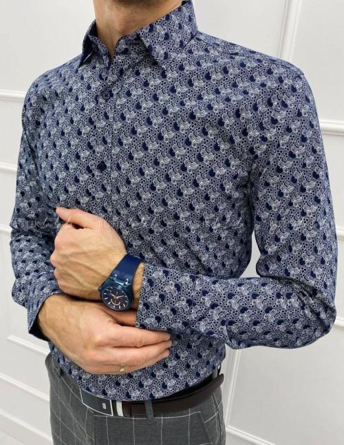 koszula granatowa slim w biały wzór