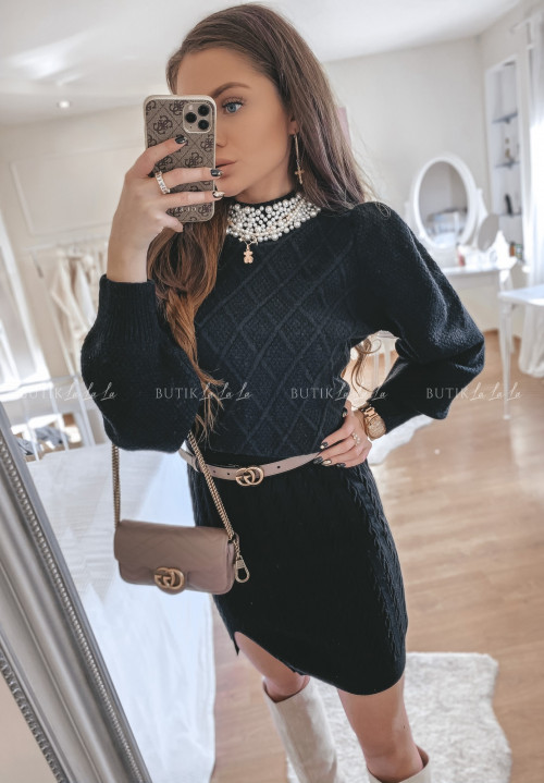 sweterek z perełkami czarny