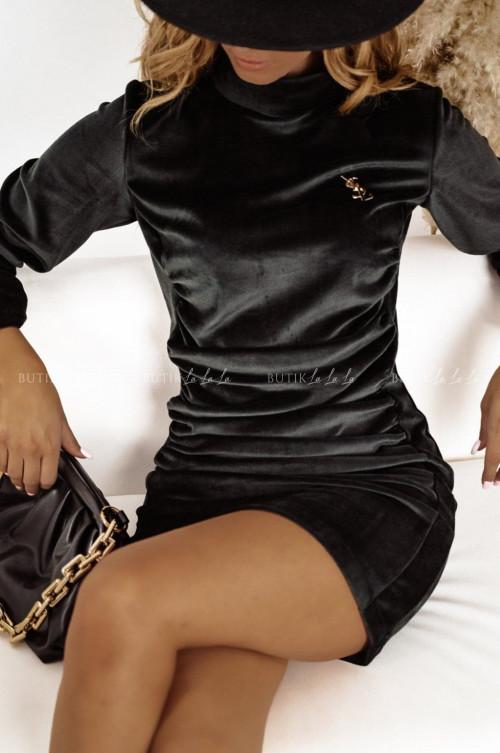 sukienka welurowa czarna Amazing