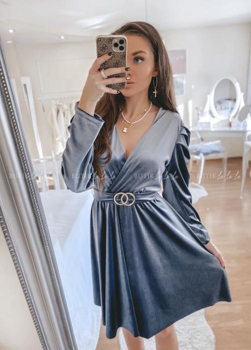 sukienka welurowa szara Marla