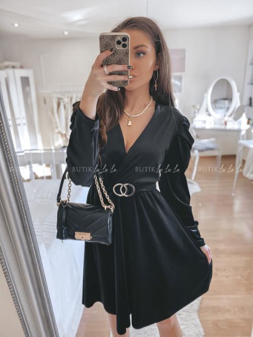 sukienka welurowa czarna Marla
