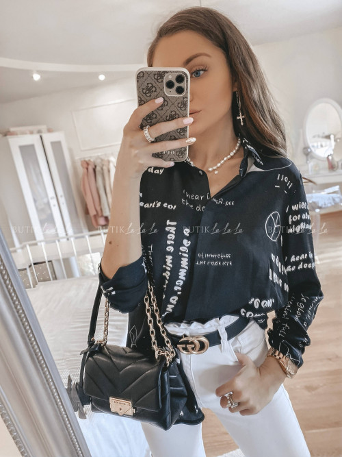 bluzka koszulowa czarna Wita