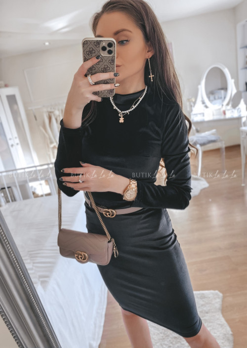 sukienka welurowa czarne Lena