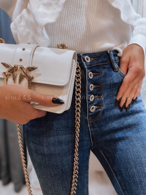 spodnie z guzikami jeans blue Calvados