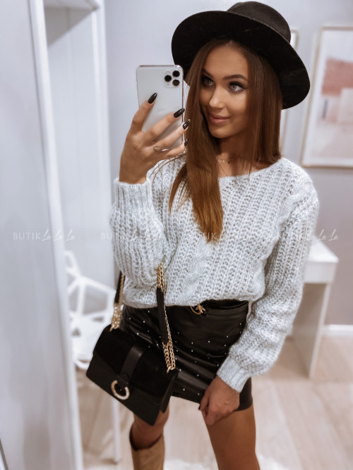 sweterek warkocz szary Classy