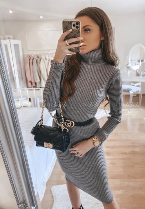 Sukienka sweterkowa szara Monley