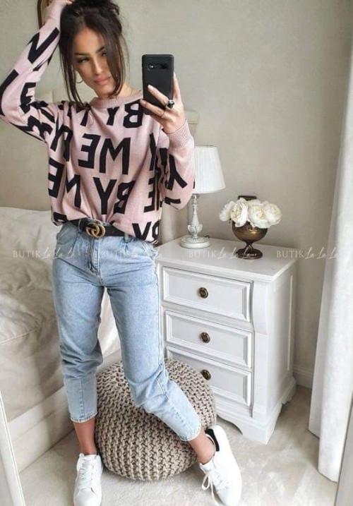 sweter różowo - czarny By Me