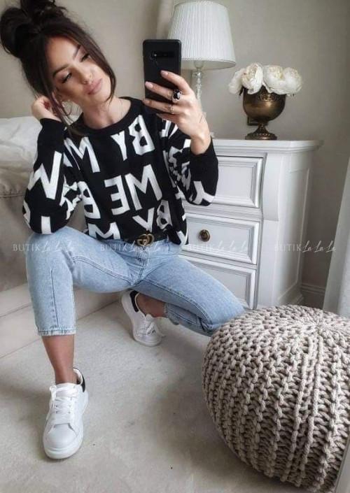 sweter czarno-biały By Me