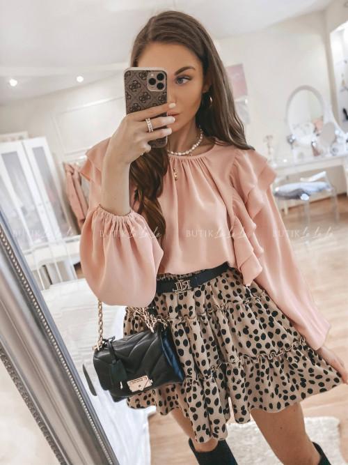bluzka z falbanką różowa Chic