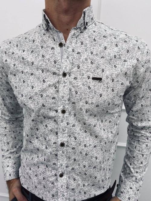 koszula biała slim w szary wzorek