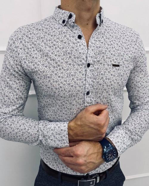koszula biała slim w granatowe kwiatki