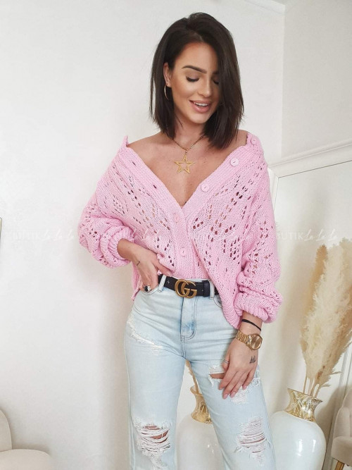 Sweter rozpinany pink ażurowy Molly