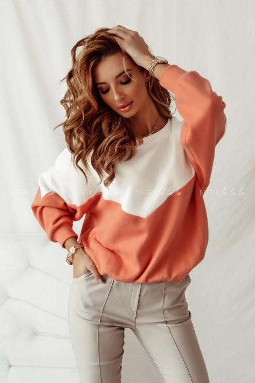 bluza sweterkowa kremowo-pomarańczowa Parisa