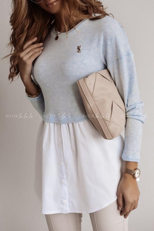 sukienka niebiesko biała Bluro