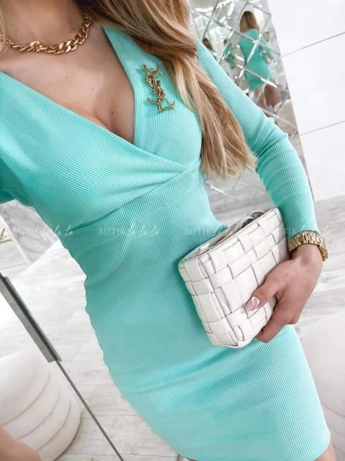 sukienka prążkowana miętowa Lina