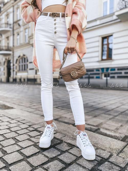 spodnie białe z guzikami Karlos