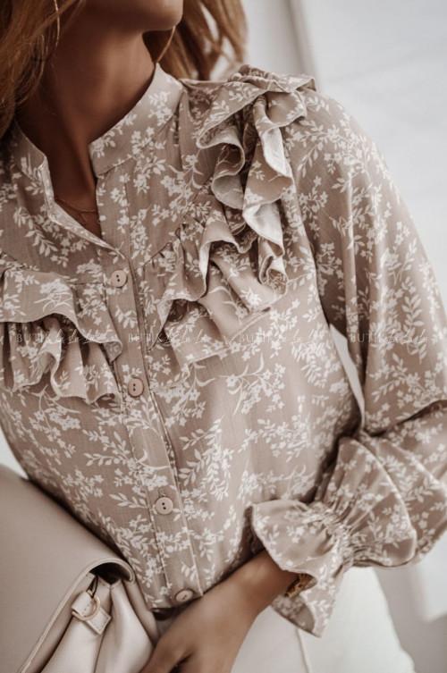 bluzka koszulowa beżowa z falbanka Maella