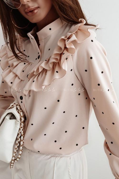bluzka koszulowa pudrowa falbanka Consuela