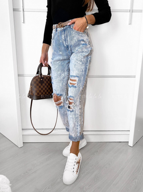 spodnie jeans blue z przetarciami Kleo