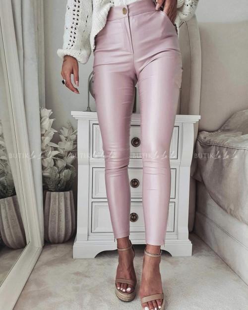 spodnie pudrowe woskowane Lavena