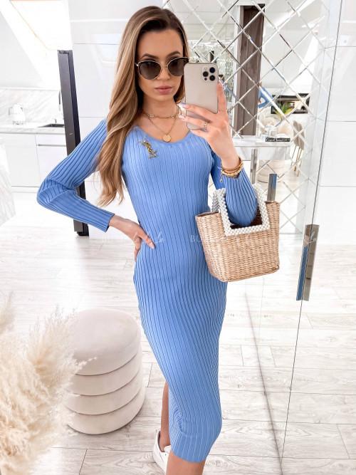 sukienka niebieska prążkowana midi Angelo