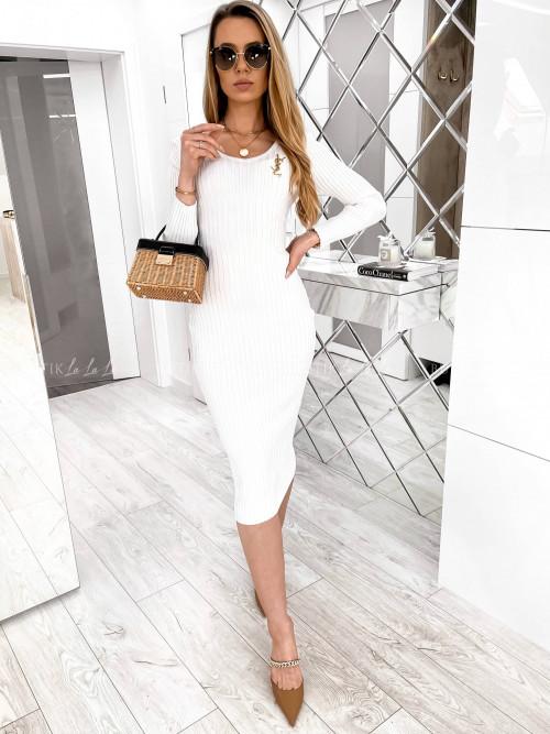 sukienka kremowa prążkowana midi Angelo