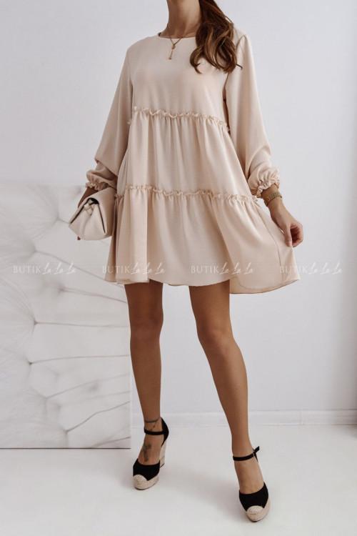 sukienka beżowa z falbankami Isleen